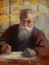 Orlando Rouland, American (1871-1945), Portrait of John Burroughs, 1907, a study for the larger portrait at the Natural History Muse...