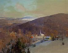 Allan Dean Cochran, American (1888-1971), Village near mountains in winter, oil on canvas, 16 x 20 inches