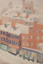 Amy Pleadwell, American (1875 - ?), New England rooftops, watercolor on paper, 29 x 21 inches