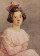Mary Belle Williams, American (1873-1943), Portrait of a young girl in pink, 1919, watercolor on paper, 15 x 11 1/2 inches