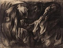 William Fett, American (1918-2006), Untitled, 1962, charcoal on paper, 19 x 24 1/4 inches