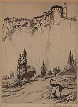 Samuel Chatwood Burton, American (1881 - 1947), Castle on a cliff, etching, 10 1/2 x 8 inches