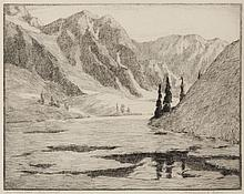Benjamin Chambers Brown, American (1865-1942), Ice-Bound Lake High Sierras, etching, 15 x 18 inches