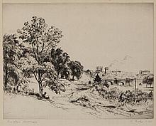 Stephen Csoka, Hungarian-born American (1897 - 1989), Brooklyn Landscape, etching, 14 3/4 x 19 3/4 inches, 9 1/2 x 11 1/2 inches (et...