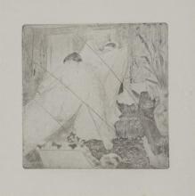 Edgar Degas, French, Sortie du Bain, aquatint and drypoint, 5 x 5 inches
