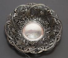 Sterling silver repousse dish with grape motif