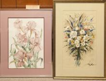 Two framed watercolor drawings, floral still lifes.