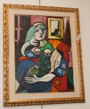 Modern painting depicting a seated woman getting dressed, framed and signed Dae Win lower right, framed