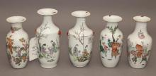 Five Chinese porcelain vases painted figural scenes in famille rose colors, each with Export approval seal, circa 1900 to mid 20th c...
