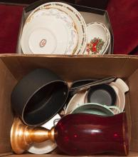 Collection of items including LTD sauce pan, other kitchen items and a ruby red vase with gilt base along with Christams plates and ...
