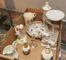 Small collection of assorted porcelain items, cups, saucers, perfumes and more