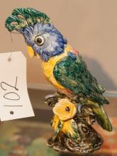 Italian painted porcelain figure of a cockatoo
