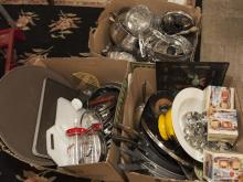 Three boxes of kitchenware including new pots, microwave