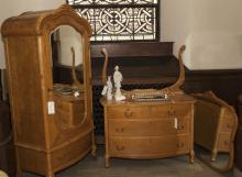 Two pieces: birds eye maple dresser with mirror together with a matching wardrobe woith single mirrored door and single drawer