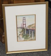 Framed watercolor of Golden Gate bridge