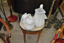 Three pieces of ironstone including a pitcher and two lidded jars