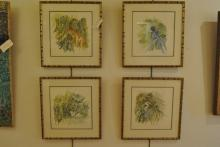 Four framed watercolors depicting wild life