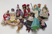 Collection of International small dolls in regional costumes, various materials