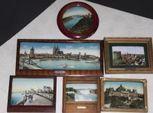 Six souvenir pictures, framed