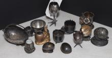 Collection of  thirteen, plated silver egg containers including