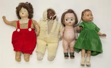 Four vintage composition and cloth doll, 14