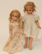 Two American composition dolls, jointed bodies, 17 and 19 in