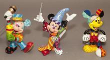 Collection of three Walt Disney Romero Britto pop art figures of Mickey Mouse, Sorcerer, Samba Mickey and one other