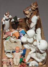 Collection of assorted ceramic figurines including  eight-piece SNOW WHITE characters, piano doll, a girl seated on bench, dollhouse...