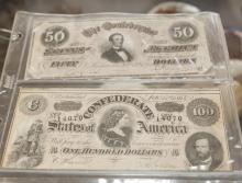 Two Confederate bills: Jefferson Davis Portrait ($50) and Lucy Pickens ($100)