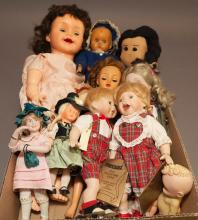 Collection of assorted dolls including bisque head on cloth bodies Skaters dolls by Seymour and 10 3/4