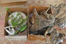 Collection of assorted items including porcelain plates, ceramic statues, and other miscellaneous items, all in two boxes.