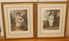 Pair of gilt framed mezzotint engravings, portraits of young girls.