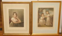 Pair of gilt framed mezzotint engravings, portraits of children.
