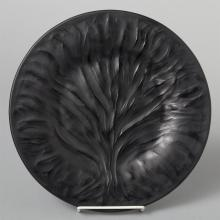 Lalique black glass plate, ALGUES or Tree of Life pattern.