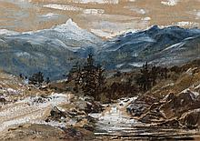 Samuel Bough, British (1822-1878), Mountain landscape, watercolor and gouache on paper, 4 1/2 x 6 3/4 inches
