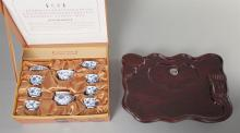 Chinese Heng Tao Blue and White Porcelain Teaset and Carved Wood Tray