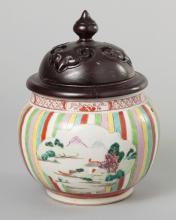 Asian Porcelain Jug with Carved Wood Lid
