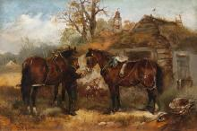 H. Melville, British, Horses being tethered to a cottage, oil on canvas, 12 x 18 inches