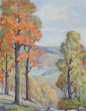 Virginia Bergfeld, American (20th century), Arcadia Valley landscape, Autumn, oil on canvas,
