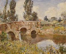 David Murray, British (1849-1933), Fishermen on a stone bridge, 1922, oil on panel,