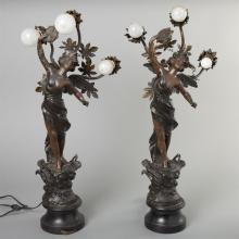 French Art Nouveau, pair of spelter statues of winged female figures