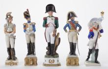 Five Capo-Di-Monte Porcelain Military Figures