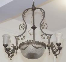 Bronze and Cast Brass Victorian Five Light Chandelier