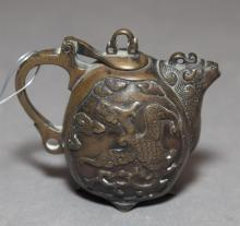 A diminutive Japanese bronze tea pot, 3 inches high