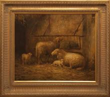 20th Century painting, sheep in a barn eating hay, signed