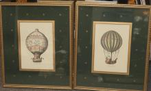 Pair of gilt framed hot air balloon prints