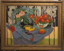 J. D. Petata, American, 20th century, Still life with fruit and flowers, 1990, oil on canvas, 30 x 40 inches