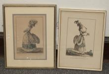 Pair of 19th century French fashion prints, both framed