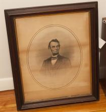 Hand written letter, Ulysses S Grant along with litho portrait along with a framed lithograph of President Abraham Lincoln