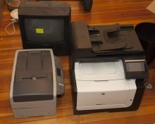 Two boxes of miscellaneous computer printers